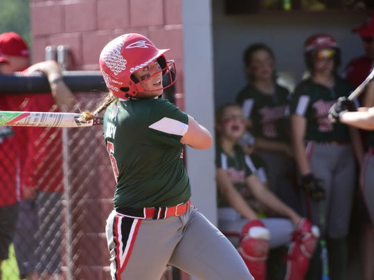 Ashley Riley established a single-season record with her 10th home run and added an RBI-double Wednesday.