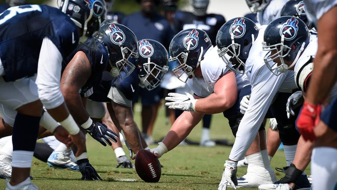 Titans lined up in full pads for the first time in training camp at Saint Thomas Sports Park on Saturday, July 28, 2018, in Nashville, Tenn.
