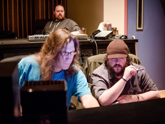 Longtime Newark resident Nick Rotundo (right) works at Ken-Del Studios in 2013 with Delaware stoner metal act Wasted Theory.