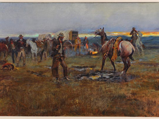 """Painted in 1915, """"When Horses Talk War There's Little Chance for Truce"""" showcases Russell's ability to accurately recreate the vegetation and the nuances of early morning light found on the plains of Montana"""
