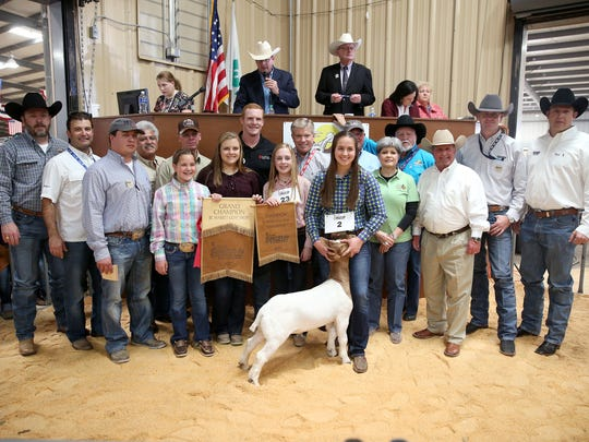 Aspen Martin, Mason County 4-H, sold the grand champion market goat for $15,500. Pictured are Matt Lloyd, Meador Construction; Ray Grothaus, Republic Services; Chance Neff, Texas Water and Soil Co., Inc.; Raymond Meza, Twin Mountain Fence;  Pat Foster, No Step Ranch; Dakota Martin; Ashlyn Tucker; Rush Seaver, 1CFCU Insurance Services; Ashley Cowley; Lynn Shipley, H-E-B; Martin; Lindy Jordan, First Financial Bank; Toni Sudduth, Trans Texas Southwest Federal Credit Union; Clay Cross, Cross Country Construction; Todd Price, Jim Bass Cars & Trucks; Sean Carter, Gandy Ink; and Josh Murrell, FireHouse Auto. Not pictured: Drew Darby.