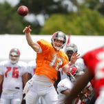 Tampa Bay Buccaneers quarterback Josh McCown (12) throws the ball during training camp at One Buc Place.