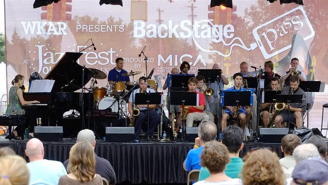 The LCC Jazz Band opens the festivities at the Lansing JazzFest Saturday in Old Town.