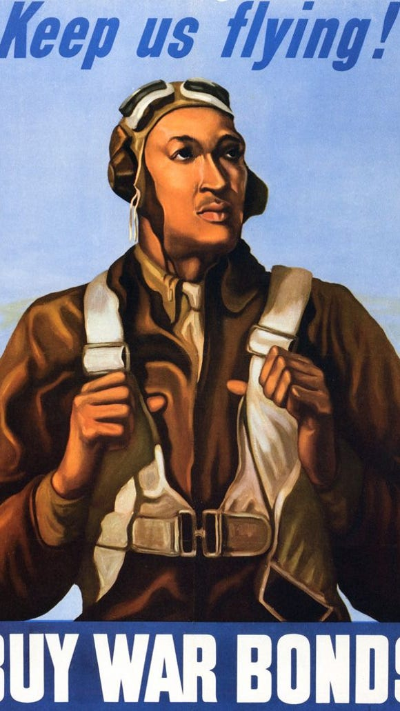 During World War II, the government put out this poster of a Tuskegee Airman to help raise money for war bonds.