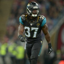 Oct 27, 2013; London, United Kingdom; Jacksonville Jaguars safety Johnathan Cyprien (37) during the NFL International Series game against the San Francisco 49ers at Wembley Stadium. The 49ers defeated the Jaguars 42-10. Mandatory Credit: Kirby Lee-USA TODAY Sports