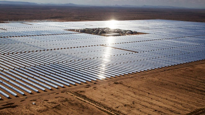 La Paz County officials would like to see solar panels spread out across what are now public lands in western Arizona. Solar stations like this one, Solana near Gila Bend, require open spaces.