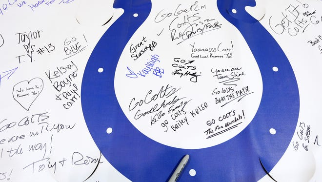 Colts fans left their best wishes on a giant banner at Bankers Life Fieldhouse before the Colts take on the Patriots in the AFC Championship game this Sunday.