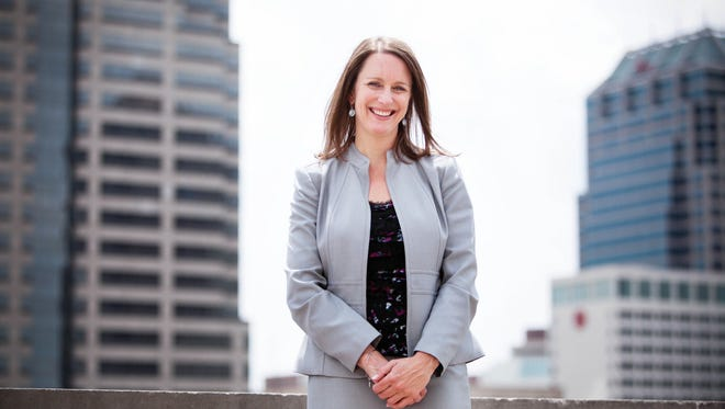 Karen Crotchfelt, Publisher of The Indianapolis Star, May 27, 2014 on the rooftop of the building.