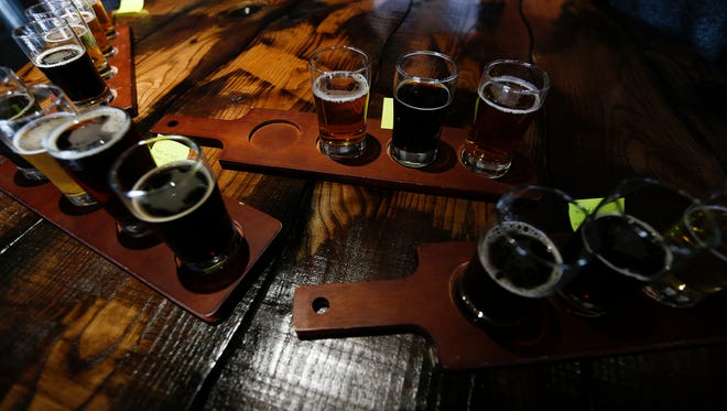 A detail photo of some of the craft beers that Flat 12, in Jeffersonville, Ind., has to offer.  Feb. 4, 2015.