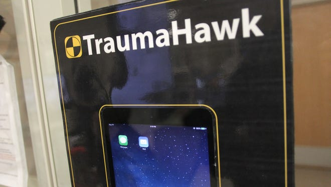 The TraumaHawk app is seen at the University of Iowa Hospitals and Clinics emergency room on Jan. 22, 2015.
