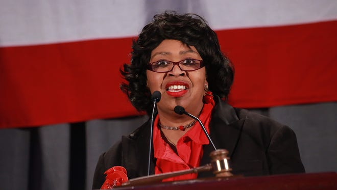 Detroit City Council President Brenda Jones speaks during the Michigan Democratic Party Spring Convention at Cobo Center in Detroit on Saturday, Feb. 14, 2015.