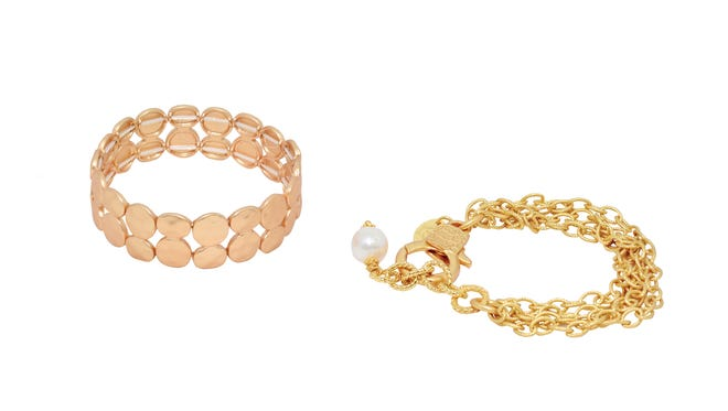 Marley bracelet ,$16 and four strand bracelet with pearl $46, Bluetique.