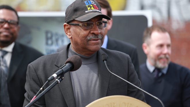 Charlie Beckham, director of Detroit neighborhoods, announce plans to preserve iconic Brewster Wheeler Rec Center in Detroit on Tuesday, April 14, 2015.
