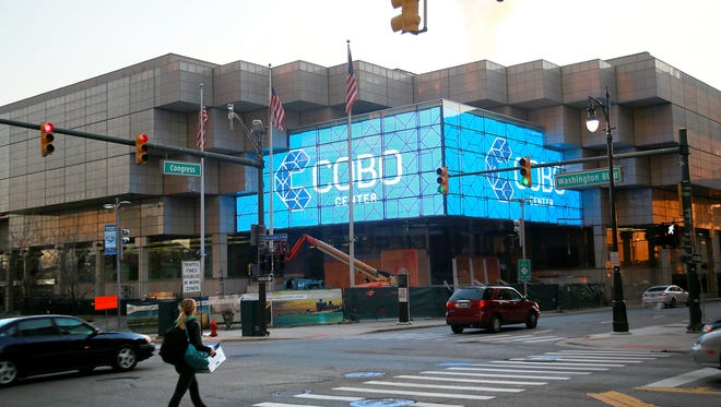 The new entrance to the Cobo Center at Congress street and Washington Boulevard features two large video displays with a viewable area of 1,382 square feet in downtown Detroit on Friday, Dec. 19, 2014.