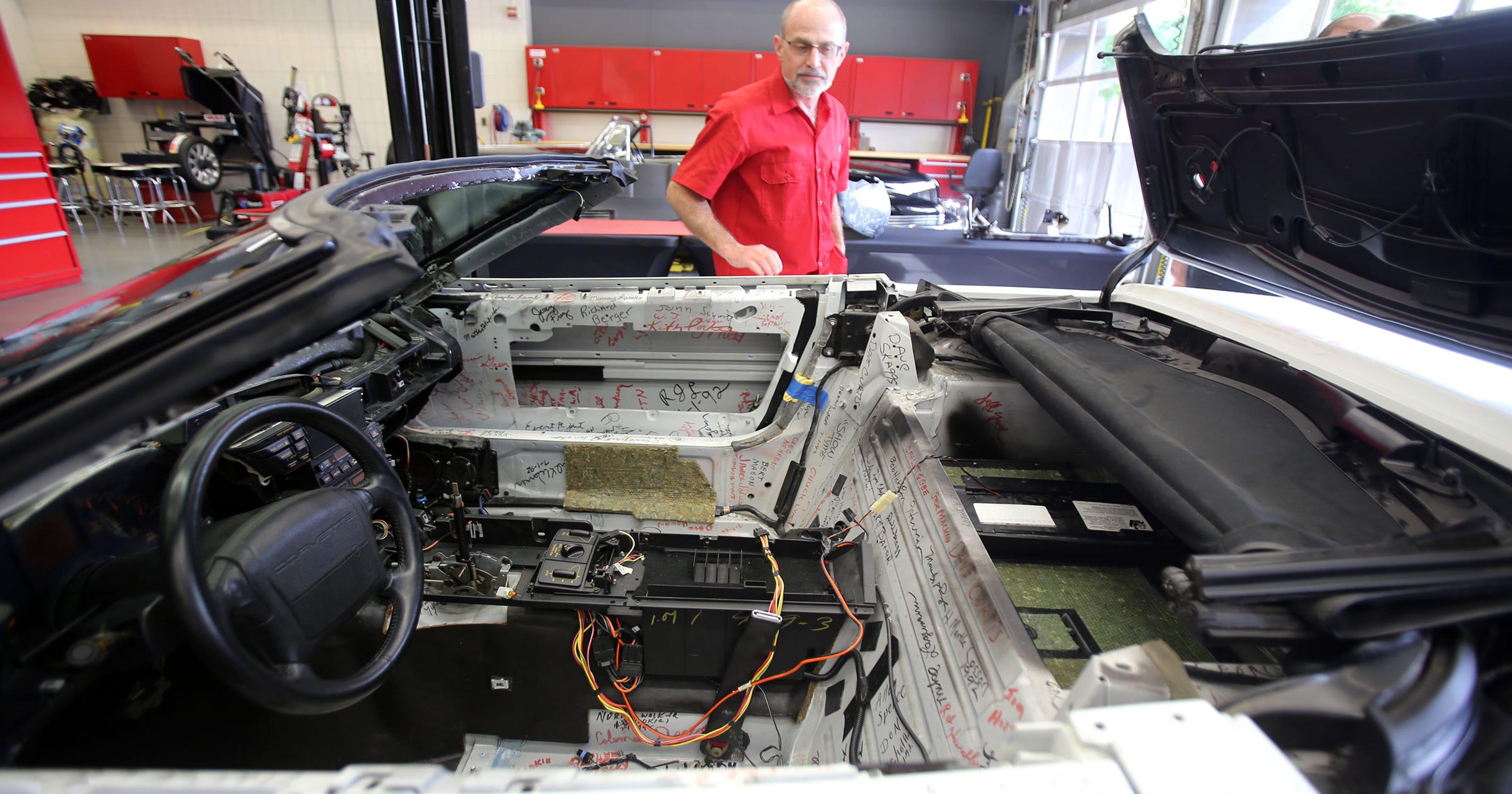 GM designers restore historic Corvette damaged in sinkhole