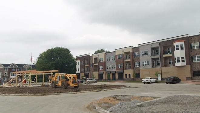 Construction continues on new property in Coralville's Old Town on Thursday, June 11, 2015.   David Scrivner / Iowa City Press-Citizen
