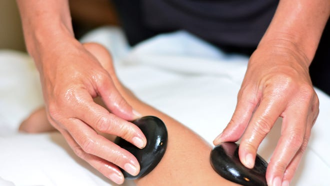 The hot stones can be used on various areas of the body to promote muscle relaxation.
