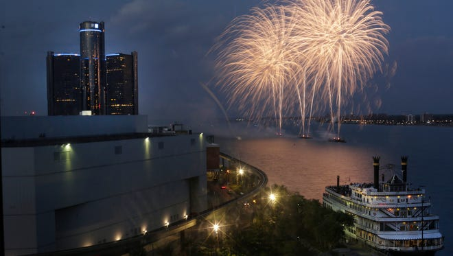 The annual Ford Fireworks festival in downtown Detroit on the Detroit River on Monday, June 22, 2015.