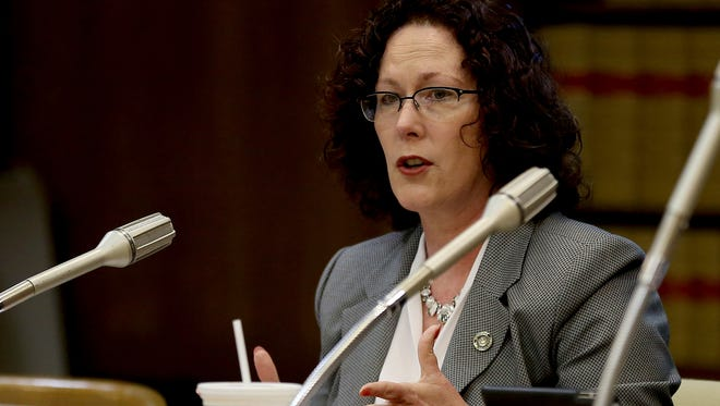 Chair Val Hoyle speaks during a meeting of the House Committee on Rules on Senate Bill 941 in April.