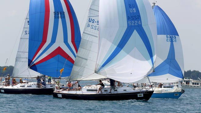 Sailboats compete in the 2014 Bell's Beer Bayview Mackinac Race.
