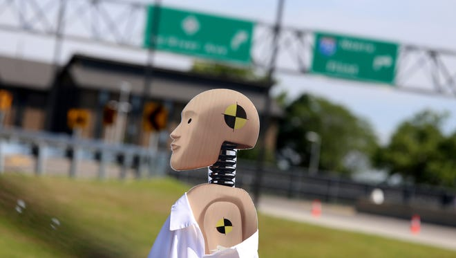 A cardboard dummy used in a demonstration during the Mcity grand opening ceremony at the grounds of the University of Michigan in Ann Arbor Monday.