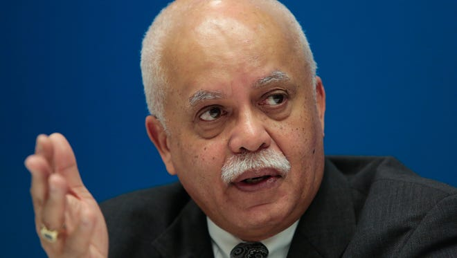 Wayne County Executive Warren Evans speaks about the Wayne County debt crisis with the Detroit Free Press editorial board on Thursday February 5, 2015 at the Detroit Free Press office.