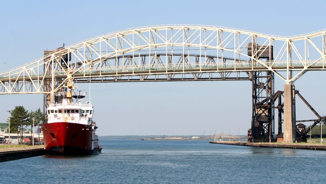 The white structure is the International Bridge connecting Michigan with Ontario at Sault Ste. Marie.