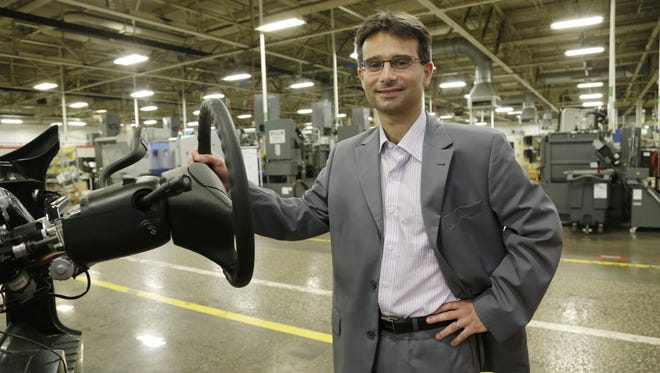 Laurent Bresson, president and  global chief operating officer of Nexteer Automotive, at  the Saginaw plant.