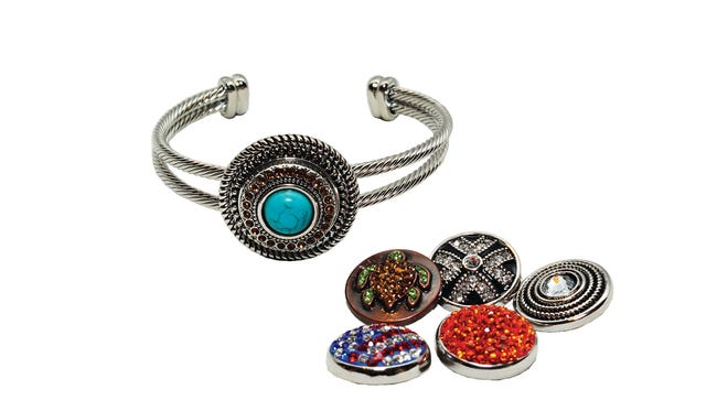 Ginger Snaps interchangeable jewelry; Bracelets $14.99 to $31.99; Snaps 6.99 to 13.99, at Simply Southern.