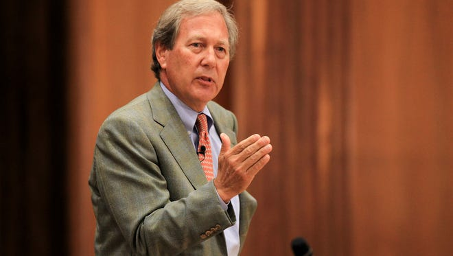 J. Bruce Harreld speaks to University of Iowa community members at the Iowa Memorial Union during his visit to campus as part of the UI presidential search on Tuesday, Sept. 1, 2015.