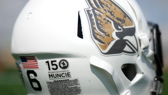 Ball State helmet with a camouflaged Cardinal and Muncie 150 sticker