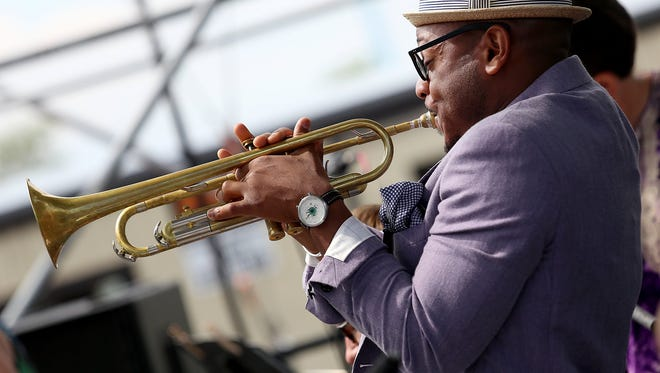 International Recording Artist Etienne Charles performs with the Oakland University Steel band ensemble, during the 36th Annual Detroit Jazz Festival in Detroit on Saturday, Sept. 5, 2015.