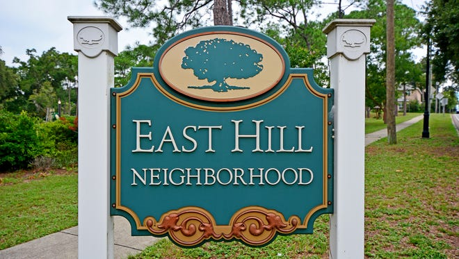 East Hill neighborhood signs are found at various entrances to the area.