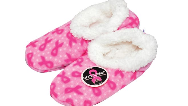 Snoozies! Non-slip sippers, $12.99, with a portion benefitting breast cancer research, at the Arc Dove Gift Shop at West Florida Hospital.