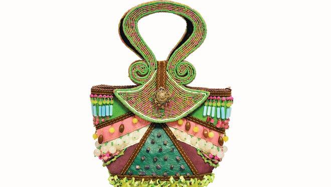 A Mary Frances beaded handbag, donated by Nancy Halford.
