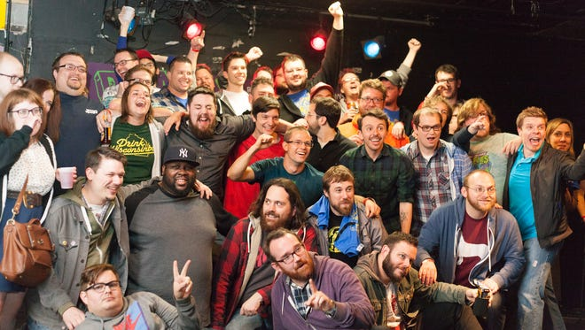 Comedians involved with the first annual Beast Village Comedy Festival, in 2014, gathered for a group picture at now-closed House of Bricks in Des Moines' East Village.