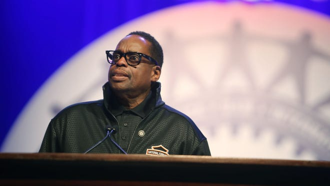 UAW Vice President James (Jimmy) Settles Jr. speaks during the 2015 Special Bargaining Convention at Cobo Center in downtown Detroit Tuesday, March 24, 2015.