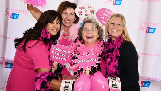 Maurene Linkous, Deborah Moore, Frances Yeo and Jamie Cochran having fun and celebrating the power of pink at the Making Strides Against Breast Cancer kickoff event.