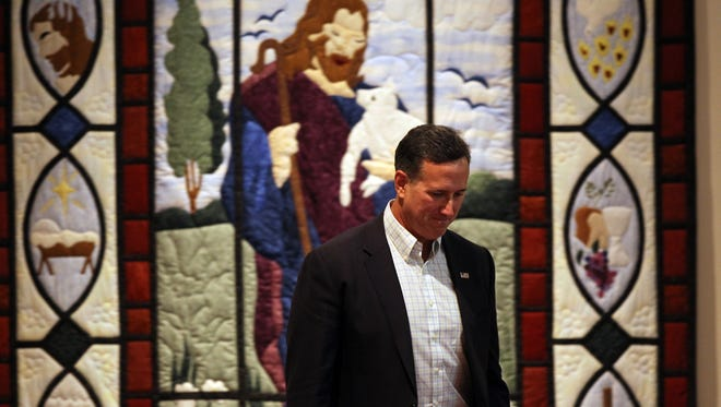 Republican presidential candidate Rick Santorum is introduced during a Jerusalem Call event at Grace Fellowship Church on Tuesday, Oct. 13, 2015.