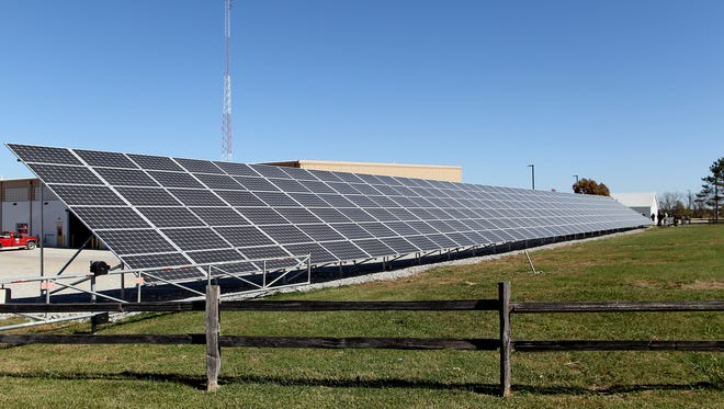 A new solar array at the Johnson County Secondary Roads facility is seen on Wednesday, Oct. 14, 2015.