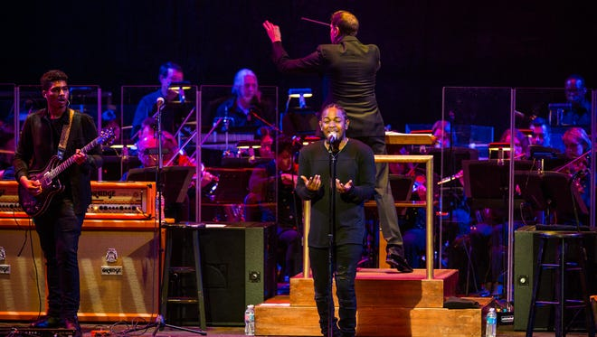 Kendrick Lamar performs with the NSO Pops at the Kennedy Center on Oct. 20, 2015, in Washington.