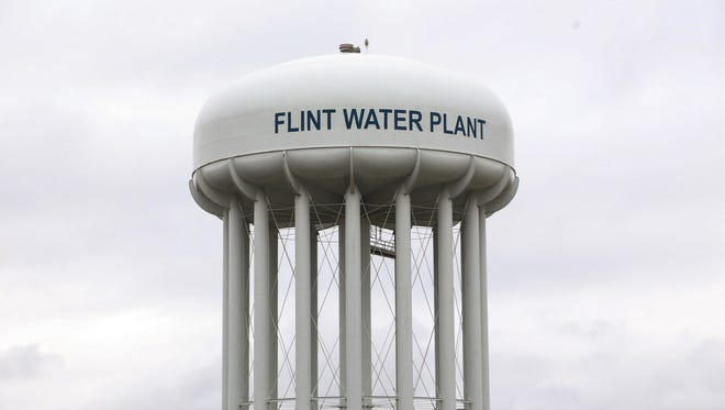A water tower from the Flint Water Plant is seen on Tuesday October 13, 2015.