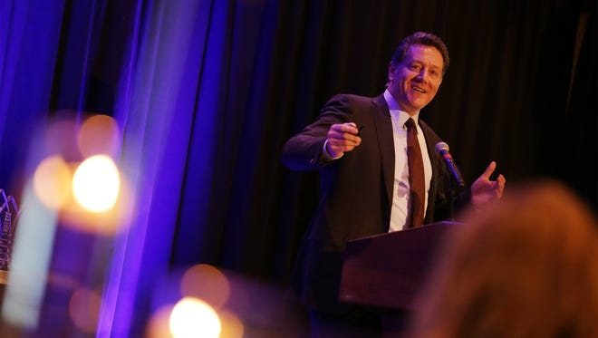 Patrick Doyle, CEO of Domino's Pizza, talks to the crowd after receiving the Top Workplaces Leadership Award during the 8th annual Detroit Free Press Top Workplaces awards ceremony at the Marriott hotel in Troy on Wednesday, November 18, 2015.