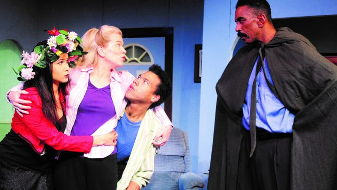 """Lulu Dahl, Kelly Pino, Dan Johnson and Roosevelt Johnson in Detroit Repertory Theatre's production of """"Herb the Green Knight."""""""