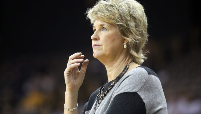 Iowa head coach Lisa Bluder watches her team during the Hawkeyes' game against Western Illinois at Carver-Hawkeye Arena on Thursday, Nov. 19, 2015.