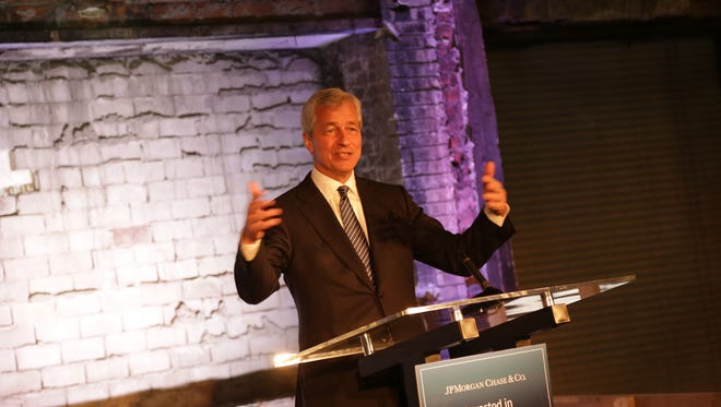 JP Morgan Chase CEO Jamie Dimon speaks in Detroit in May 2015. Dimon has committed his bank to investing $100 million in Detroit.