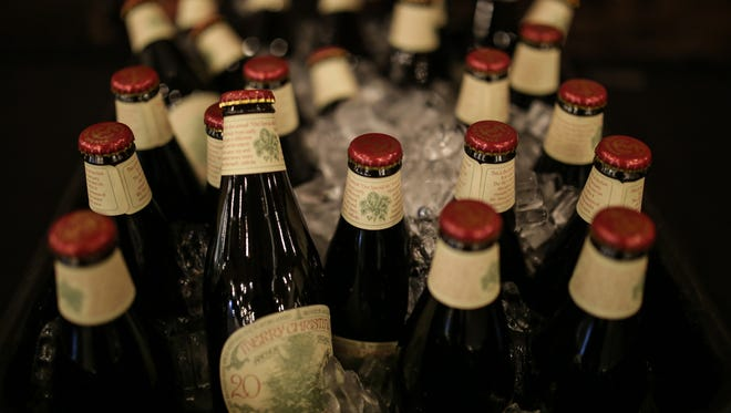Beers await guests during the Detroit Free Press Craft Classic beer tasting event on Wednesday Dec. 2, 2015, at the Great Lakes Culinary Center in Southfield. The event featured eight beers and a mead, along with food and trivia.