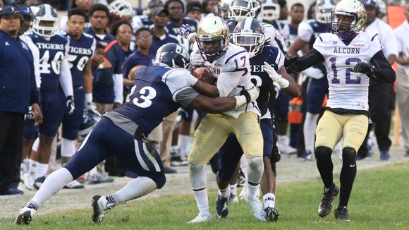 Lenorris Footman (17) started at quarterback for Alcorn State in the SWAC title game on Saturday.