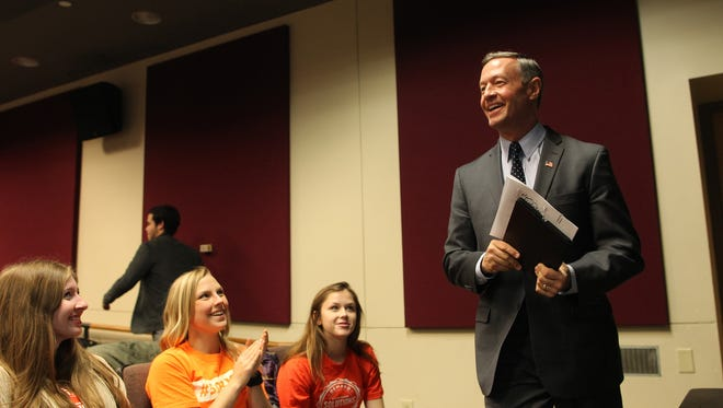Democratic presidential hopeful Martin O'Malley is introduced at the Iowa Theatre in the Iowa Memorial Union on Tuesday, Dec. 8, 2015.