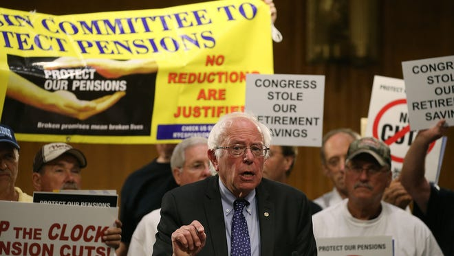 In this September photo, Democratic Presidential candidate U.S. Sen. Bernie Sanders (I-VT) speaks during a rally with the International Brotherhood of Teamsters, on Capitol Hill to urge Congress to stop the clock on unprecedented pension cuts for Teamsters and Machinist Unions.